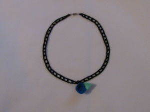 Jack's Blue Rose Pendant with Julia's Railroad Crochet Choker